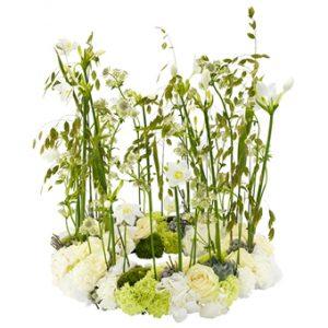 Begravningskrans med blomsterdekorationer i grönt och vitt. Oftast används rosor, nejlika, hortensia och amasonlilja tillsammans med gröna dekorationsblad.