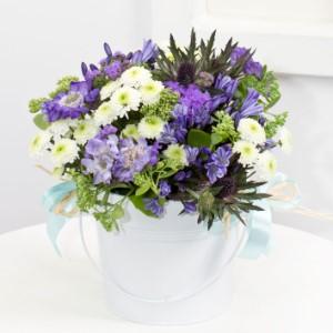 Plantering med söta små blommor i blått och vitt. Planterad i en vit kruka. Ingår i Interfloras Litauen-sortiment.