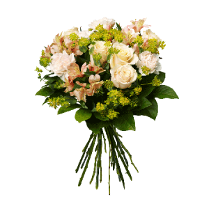 Bukett med blommor i ljusa färger; nejlikor, rosor, alstromeria och grönt.