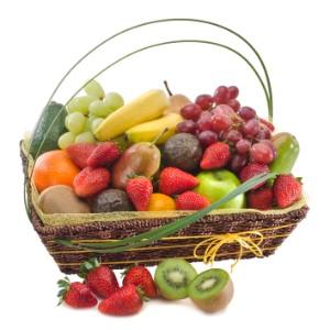Fruktkorg - ingår i Interfloras Australiensortiment. Skicka den med ett blomsterbud ända hem till mottagarens hemadress!
