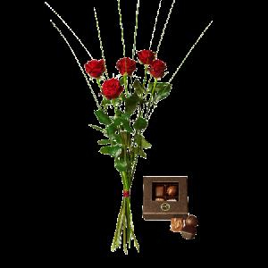 Blombukett med fem röda rosor och en liten ask choklad (55 g, 4 praliner)