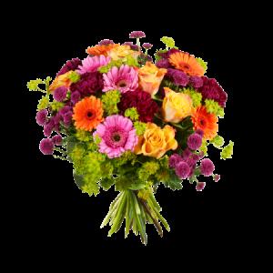 Bukett med rosor, nejlikor, germini och grönt. Blommorna går i blandade, glada färger.