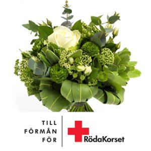 Bukett med vita rosor och småblommigt tilsammans med grönt.