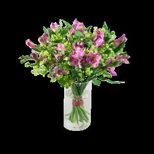 Bukett med lila alstromeria tillsammans med alchemilla.