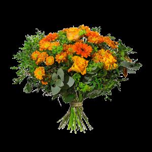 Bukett med blandade blommor i varma orange hösttoner.