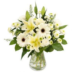 Bukett med blandade vita blommor, bl a gerberas och liljor.