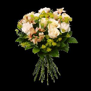 Bukett med nejlikor, rosor, alstromeria och grönt.