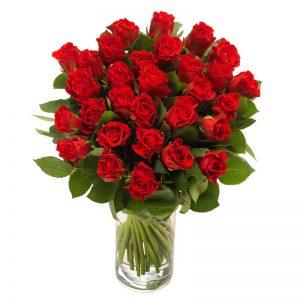STOR rosbukett med röda rosor. Från Euroflorist.