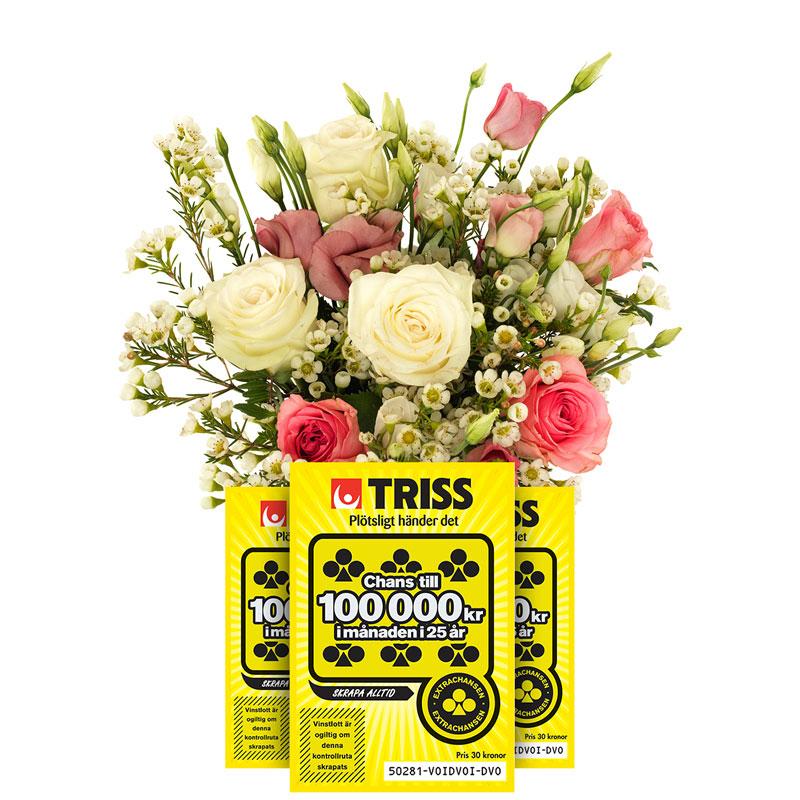Bukett med blommor i rosa, vitt och ljusrött tillsammans med grönt. Plus tre trisslotter. Finns hos Euroflorist.