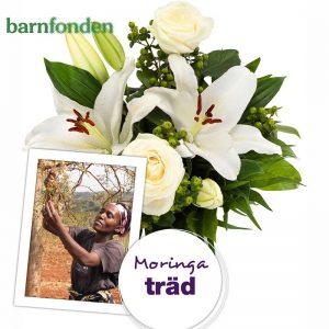 Bukett med vita, eleganta blommor. Välgörenhetsbukett i samarbete Euroflorist/Barnfonden. Ett Moringaträd kommer att planteras i Afrika om du väljer den här buketten.