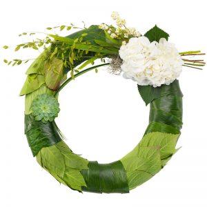 Krans i grönt och vitt, med echeveria, hortensia, snöbär. Beställ kransen direkt i Euroflorists onlinebutik , så fixar Euroflorist ett blombud direkt till aktuell begravning.