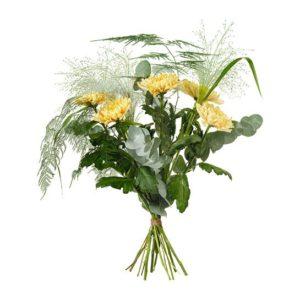 Bukett med euklyptus, fontängräs och plumosus. Ur Interfloras höstsortiment.