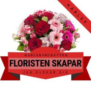 Floristen skapar en romantisk bukett med blommor i varma färger. Ett alternativ hos Florister i Sverige.