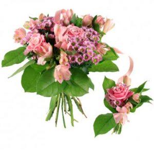 Familjebukett med rosa blommor. Ur Florister i Sveriges sortiment för nyblivna föräldrar.