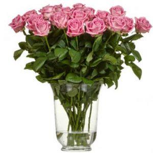 Snittblommor i bunt, här rosa rosor. Ett alternativ hos Florister i Sverige.