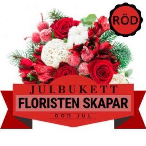 Julbukett med i huvudsak röda blommor. Floristen skapar. Beställ online hos Florister i Sverige.