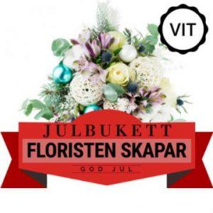 Julbukett med blommor i vitt. Floristen skapar. Finns att beställa hos Florister i Sverige.